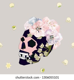 Seamless pattern with skulls, leaves, pink flovers, can be used as cool print for clothes. Creative retro poster