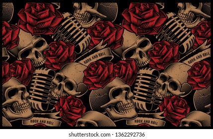 Seamless pattern with skulls, microphones and roses on the dark background.