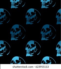 Seamless pattern with skulls on black background.