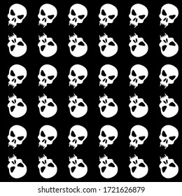Seamless pattern with skulls. Ornamental black and white background. Vector monochrome illustration. Endless texture.