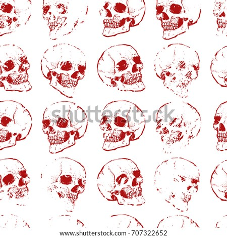 32bc4a5317 Seamless pattern with skulls. White and red colors. Grunge style. Repeating  background.