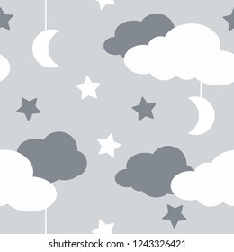 Seamless pattern with sky elements in line art style, grey night. Hand-drawn seamless pattern with cute clouds, stars on a gray background - vector
