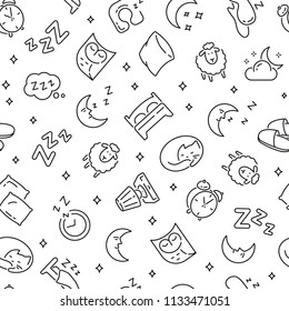 Seamless pattern with sleep. Black and white thin line icons