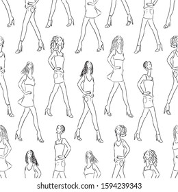 Seamless pattern of slender young women sketches striding on catwalk