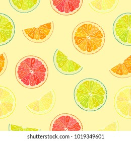 Seamless pattern with sliced citrus. Yellow background.