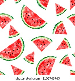Seamless pattern with slices of watermelon on white background. Summer concept. Vector watercolor. Top view