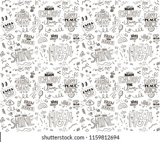Seamless pattern with slogan. Tee print. Vector design.