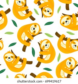 seamless pattern with sloth  - vector illustration, eps