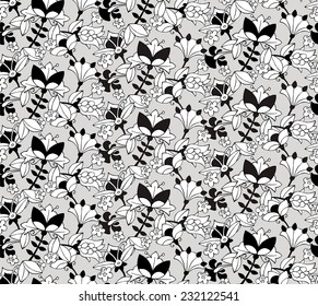 Seamless Pattern Small  Floral ornament Black & White & Gray Mottled