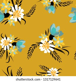 Seamless pattern with small flowers on a dark yellow background. Modern and Trendy fashionable floral texture for fabric, wallpaper, interior, tiles, print, textiles, packaging and various designs.