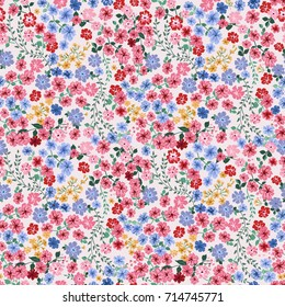 Seamless pattern in small pretty flowers. Liberty style millefleurs. Floral background for textile, wallpaper, pattern fills, covers, surface, print, wrap, scrapbooking, decoupage.