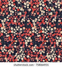 Seamless pattern in small pretty flowers. Cute bouquets. Liberty style millefleurs. Floral background for textile, wallpaper, pattern fills, covers, surface, print, wrap, scrapbooking, decoupage.