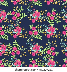 Pretty borders images stock photos vectors shutterstock seamless pattern in small pretty flowers daisy bouquets liberty style millefleurs floral background mightylinksfo
