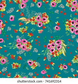 Seamless pattern in small pretty pink flowers. Poppy bouquets. Liberty style millefleurs. Floral background for textile, wallpaper, pattern fills, covers, surface, print, wrap, scrapbooking, decoupage
