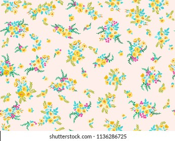 Seamless pattern in small pretty wild yellow flowers. Cute bouquets. Liberty style millefleurs. Floral background for textile, wallpaper, covers, surface, print, wrap, scrapbooking, decoupage