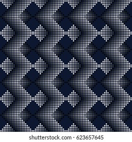 Seamless pattern of small squares. Abstract regular dotted subtle textured background. Optical illusion, volume effect