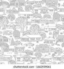 Seamless pattern of small town houses, Blooming flowers and spring trees. Fantasy urban landscape, Fairy tale home buildings, Hand drawn doodle sketch, Coloring book page for adults, children
