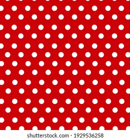 Seamless pattern with small white polka dots on a red background, art, fabrics, decorations, albums, wallpapers.