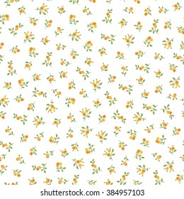 Seamless pattern with small yellow flowers. Vector floral background.