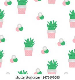 seamless pattern with smiling cactus flowers in pink and green colors