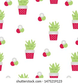 seamless pattern with smiling cactus flowers vector - red and green colors