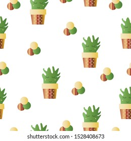 seamless pattern with smiling cactus flowers vector - green and brown colors