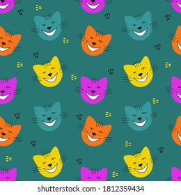 Seamless pattern with smiling cat faces on blue background. Modern design for fabric and paper, surface textures.