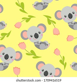 Seamless pattern with smiling koala baby and pink tulips. Yellow background. Flat cartoon style. Cute and funny. For kids postcards, textile, wallpaper and wrapping paper. Summer and spring ornament