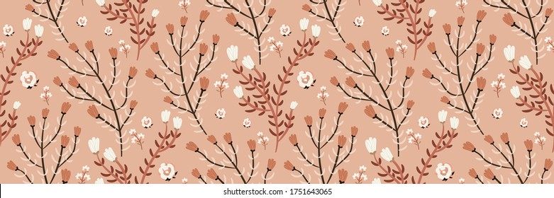Seamless pattern with smoky pink, white flowers on a trendy pastel background. Sophisticated floral print. Template for fashion design, fabrics, covers... Vector illustration in a hand-drawn style.