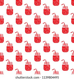 Seamless pattern with smoothie in jars and tubes. Healthy eating habits. Easy cooking process.