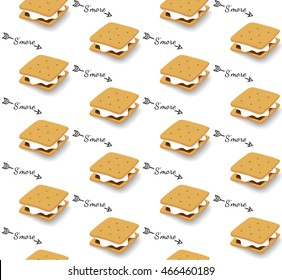 Seamless Pattern with S'more graham cracker, chocolate, and marshmallow
