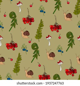 seamless pattern with snails, fern, mushrooms and berries. Natural background with forest elements