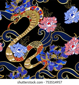 Seamless pattern with snake and peony patch embroidery with sequins.