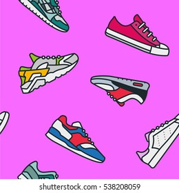 Seamless Pattern with Sneaker Shoe Minimal Color Flat Line Stroke Icon Pictogram Symbol Illustration on a Pink Background