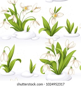Seamless pattern from snowdrop making the snow through the snow and flowers on white background