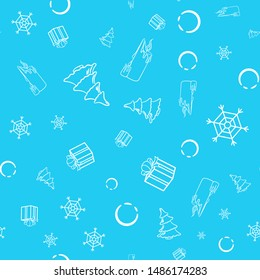 Seamless pattern with snowflake, christmas tree, candle and gift box with a bow. Vector illustration with round decorative elements on a blue background. Christmas-themed picture. Package design.