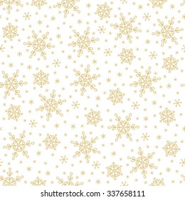 Seamless pattern with snowflakes on white background. Perfect for wallpaper, pattern fills, gift paper, Christmas and New Year greetings cards.
