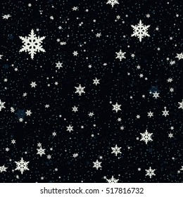 Seamless pattern of snowflakes.Christmas Snowflakes Background. Seamless Repeating Pattern