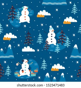 seamless pattern with snowman in new year forest. Vector, illustration.
