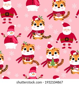 Seamless pattern with snowman, Santa Claus, tiger, gift box, Christmas tree. 2022 seamless holiday background. New year design. 2022 year of the tiger. Seamless pattern with Christmas symbols