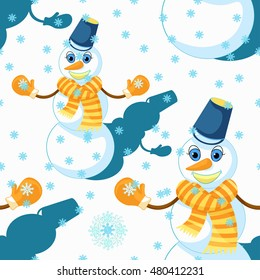 seamless pattern with a snowman wearing a scarf, mittens, and a bucket vector illustration