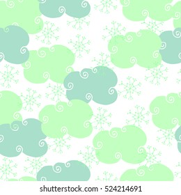 Seamless pattern with snowy clouds.  Winter pattern
