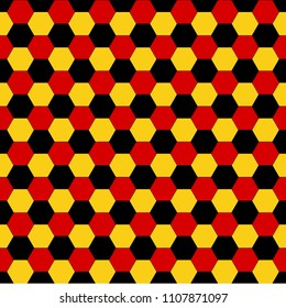 Seamless pattern with soccer ball black, red, yellow, the color of the flag of Germany background.