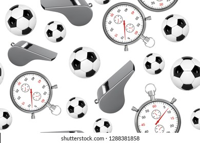 Seamless pattern with soccer ball, whistle and stopwatch. 3D Football set of icons with referees objects, seamless background vector illustration