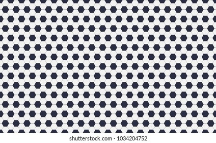 Seamless pattern of soccer or football with black and white hexagons. Horizontal, traditional sport texture of ball for game. Easily resizable and color, vector illustration.