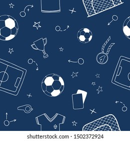 Seamless pattern of soccer/football symbols. Included the icons as balls, Winner's Cup, medal, t-shirts, football pitches, crank and more.
