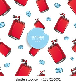 Seamless pattern of soda with ice. vector illustration on white background