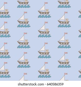 Seamless pattern with soft color ship with flag and blue wave. Can be used for printing on fabric, for wrapping paper and for the background of the site.