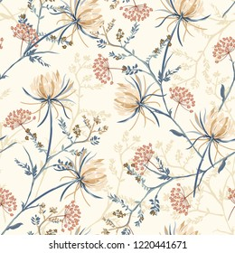 Seamless pattern of soft and graceful oriental blooming flowers,botanical vector design for fashion,fabric,wallpaper,and all prints on light beach background color