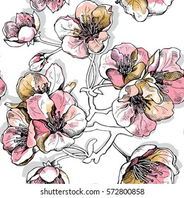 Seamless pattern with soft pink and gold flowers cherry on a white background. Vector illustration.